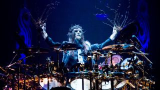 Joey Jordison of Slipknot performs on stage at Hammersmith Apollo on December 2nd 2008 in London