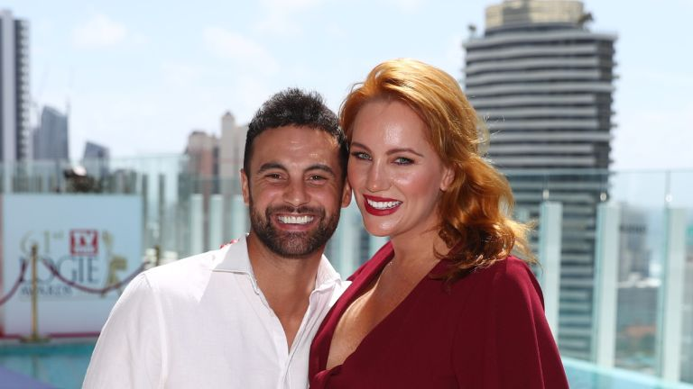 GOLD COAST, AUSTRALIA - MARCH 04: Jules Robinson and Cameron Merchant from Married at First Sight attends the 61st TV WEEK Logie Awards voting launch event at The Star Gold Coast on March 04, 2019 in Gold Coast, Australia. (Photo by Chris Hyde/Getty Images)
