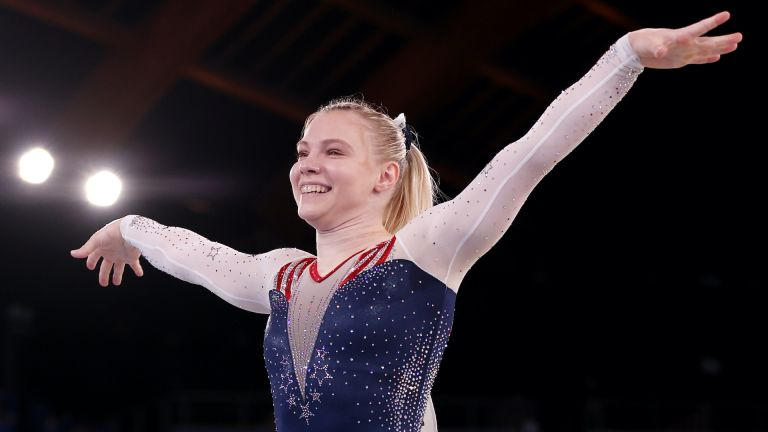 TOKYO, JAPAN - AUGUST 02: Jade Carey of Team United States celebrates during the Women's Floor Exercise Final on day ten of the Tokyo 2020 Olympic Games at Ariake Gymnastics Centre on August 02, 2021 in Tokyo, Japan. (Photo by Jamie Squire/Getty Images), Jade Carey wins gold