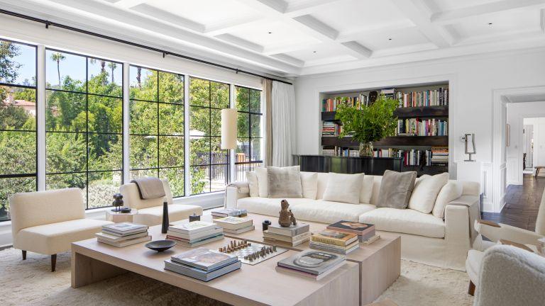 Inside Ellen DeGeneres house in Beverly Hills, living room with minimalist interiors