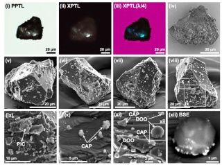Microscopic views of an asteroid sample collected by Japan's Hayabusa probe show tiny bits of grain that have adhered to it from impacting meteorites.