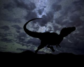 T. rex stands under the night sky.