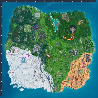 Where to Visit Drift painted Durrr Burger Head, Dinosaur and Stone Head Statue in Fortnite