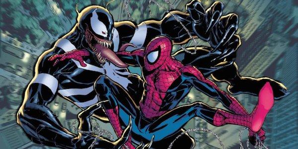 Venom and Spider-Man fighting