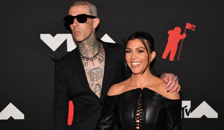 Kourtney Kardashian and Travis Barker attends the 2021 MTV Video Music Awards at Barclays Center on September 12, 2021 in the Brooklyn borough of New York City