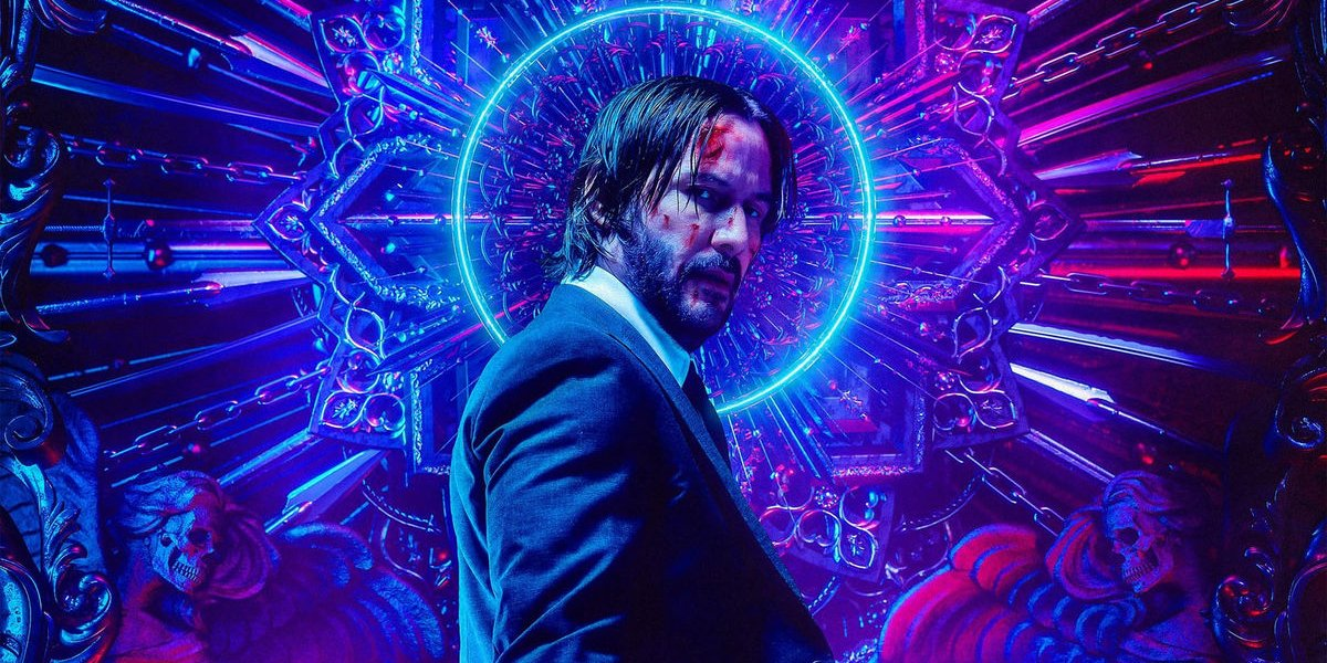John Wick Chapter 3: Parabellum Keanu Reeves with a neon halo