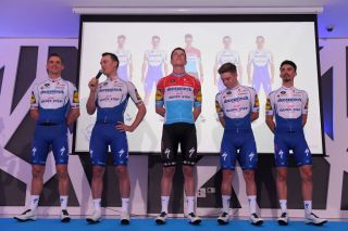 Yves Lampaert takes the mic at Deceuninck-QuickStep's 2020 media day