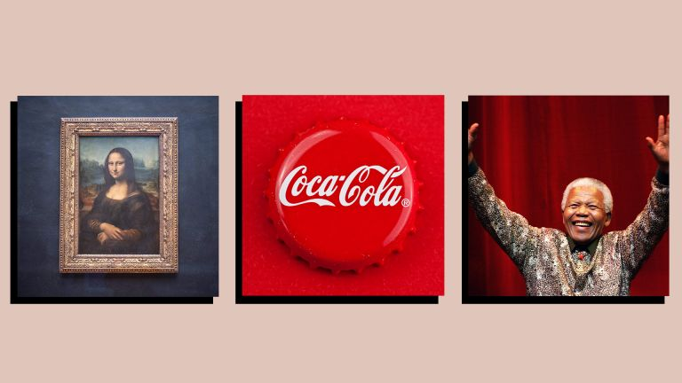 Mona Lisa, Coca-Cola logo and Nelson Mandela