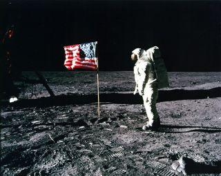 Aldrin salutes flag