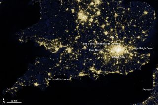 London's lights from space, taken by the Suomi NPP satellite on March 27, 2012.