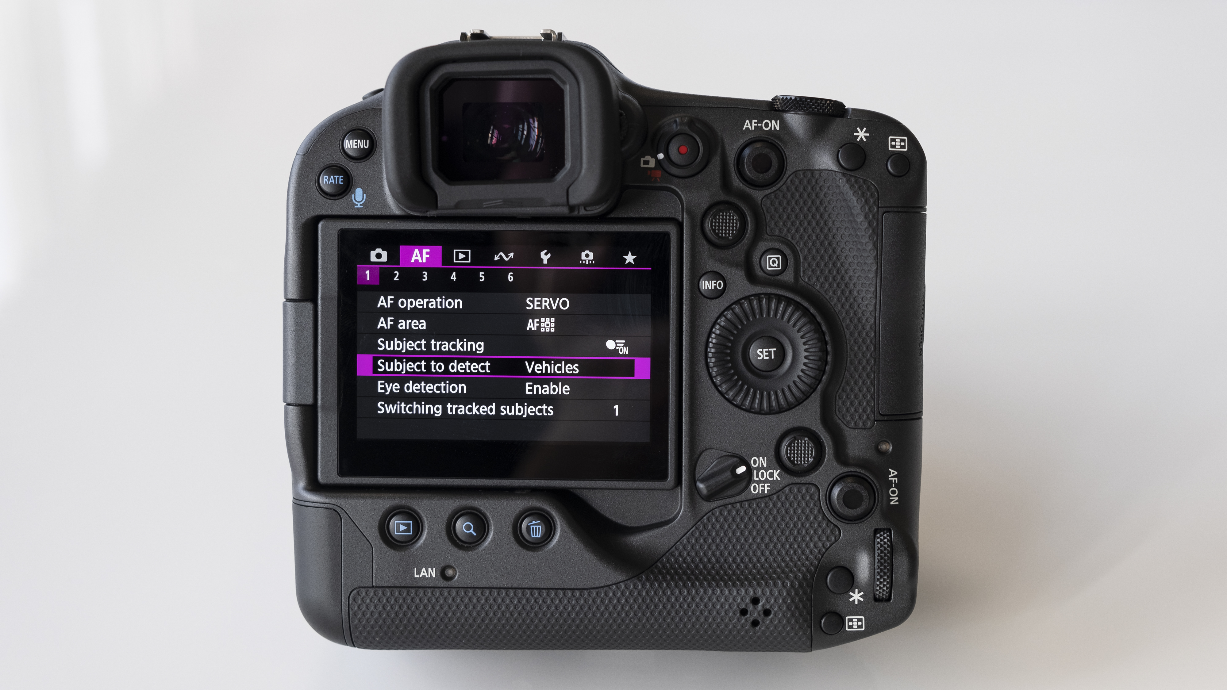 The rear screen of the Canon EOS R3 mirrorless camera