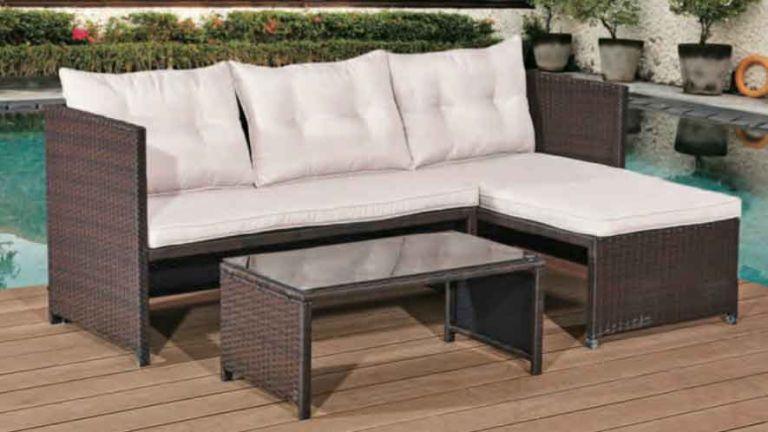 PE Rattan Garden Corner Sofa Set with Table in garden