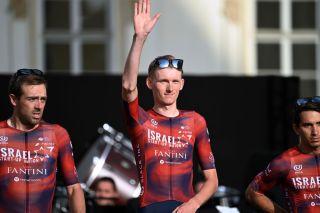 Krists Neilands (Israel Start-Up Nation) at the Giro d'Italia teams presentation