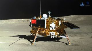 China's Chang'e 4 lander on the far side of the moon, as seen by the mission's Yutu 2 rover.