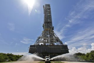 NASA's existing mobile launcher, as seen on Aug. 31, 2018.