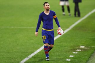 "Lionel Messi (Barcelona), FEBRUARY 10, 2021 - Football / Soccer : Spanish ""Copa del Rey"" match between Sevilla FC 2-0 FC Barcelona at the Estadio Ramon Sanchez-Pizjuan in Sevilla, Spain. (Photo by Mutsu Kawamori/AFLO)"