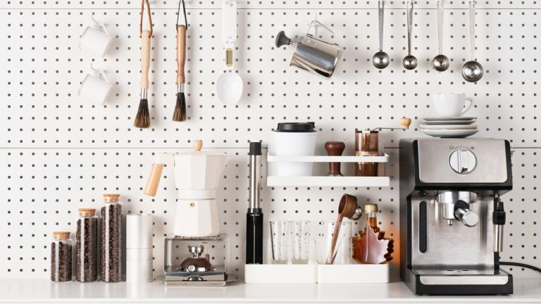 coffee machine and accessories in in kitchen