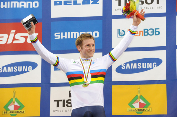 Jason Kenny keirin world champion podium 2013 track cycling world championships Minsk.jpg