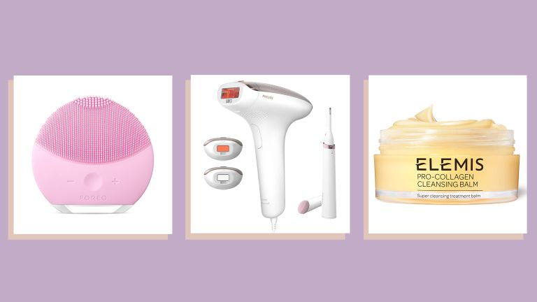a collage of some of w&h's best Amazon Prime Day beauty deals picks - the Foreo Luna Mini 2, Philips Lumea device with attachments and Elemis pro-collagen cleansing balm - on a purple background