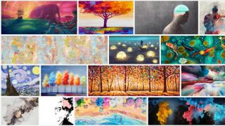 Stock art websites: selection of paintings from Adobe Stock