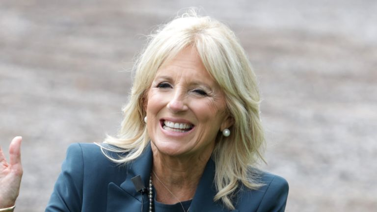 WILMINGTON, DELAWARE - SEPTEMBER 01: Dr. Jill Biden, wife of Democratic presidential candidate former Vice President Joe Biden, gestures during a visit at Evan G. Shortlidge Academy on September 1, 2020 in Wilmington, Delaware. Dr. Biden visited the school and took part in conversations with educators on safely reopening schools. (Photo by Alex Wong/Getty Images)