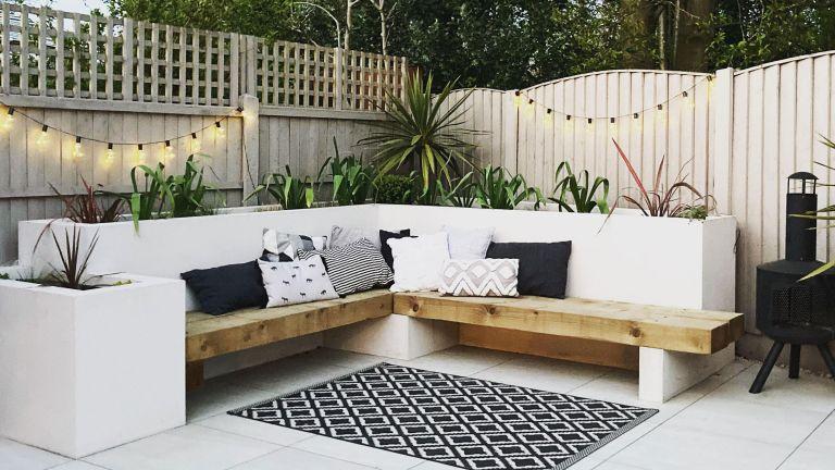 white garden seating area