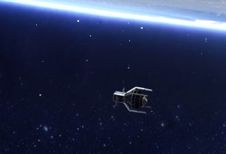 An artist's rendering shows the ClearSpace-1 satellite using its robotic arms to capture the conical piece of space debris called Vespa.