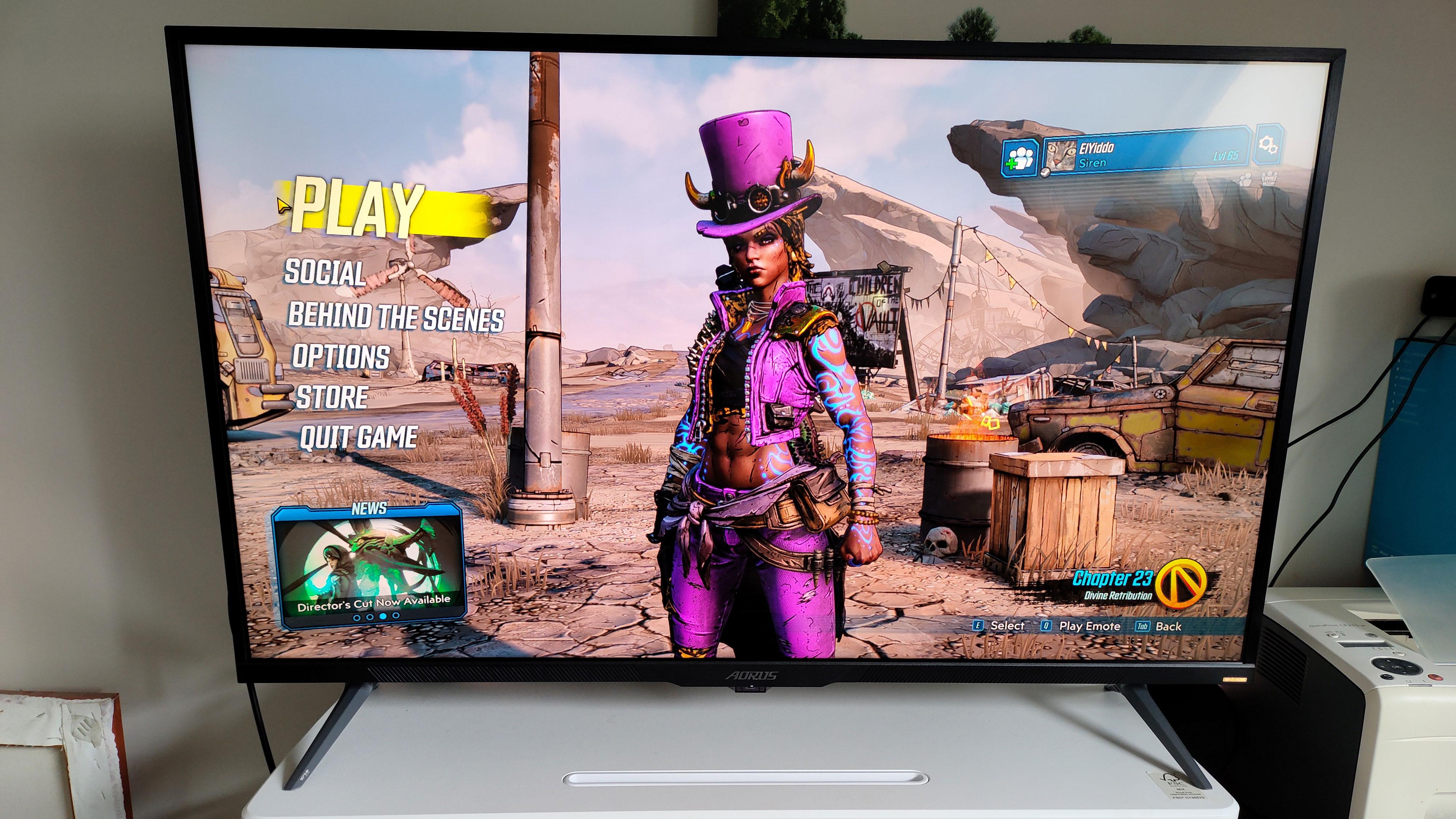Aorus FV43U gaming monitor on desk