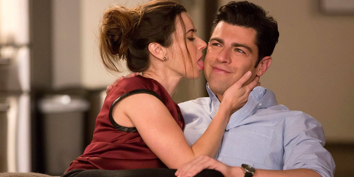 Linda Cardellini licking Max Greenfield's face in New Girl Sister episode