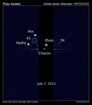 Pluto System Showing Fifth Moon (P5)