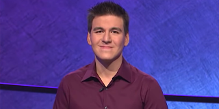 James Holzhauer is shown on Jeopardy!