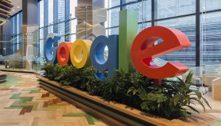 The front sign of Google's HQ.