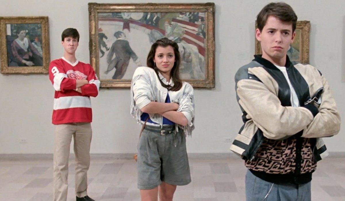 Alan Ruck, Mia Sara, and Matthew Broderick posing in an art museum in Ferris Bueller's Day Off.