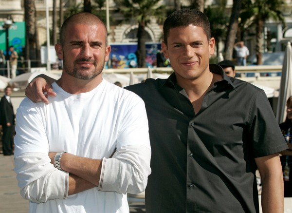 Australian actor Dominic Purcell, left, and American actor Wentworth Miller, right, pose in front of Carlton Hotel during a photocall for their TV Series