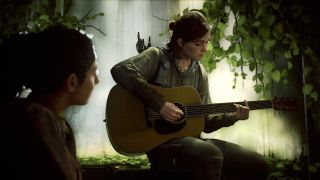 Eli from Last of Us Part II playing guitar