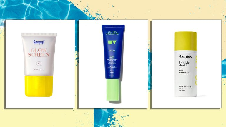 A selection of the best sunscreen for face is pictured from left to right, Supergoop, Ultraviolette, Glossier