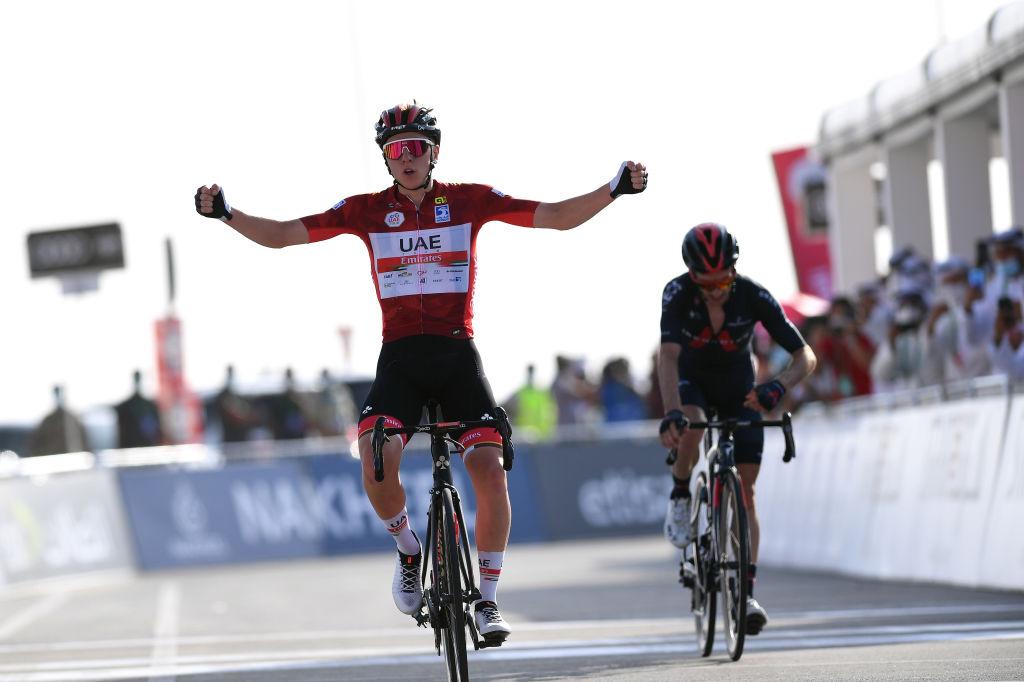 Tadej Pogacar won stage 3 to Jebel Hafeet