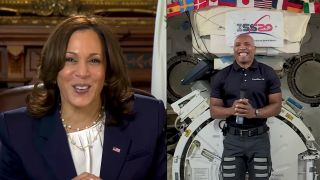 U.S. Vice President Kamala Harris speaks with NASA astronaut Victor Glover to celebrate his mission to the International Space Station in a February 2021 video call.