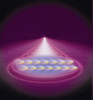 artist's conception shows atoms in a Bose-Einstein Condensate being pushed by laser light