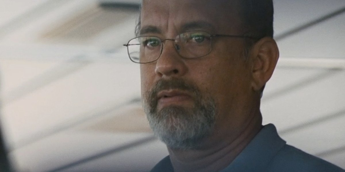 Captain Phillips (Tom Hanks) looks wary in a scene from the movie.