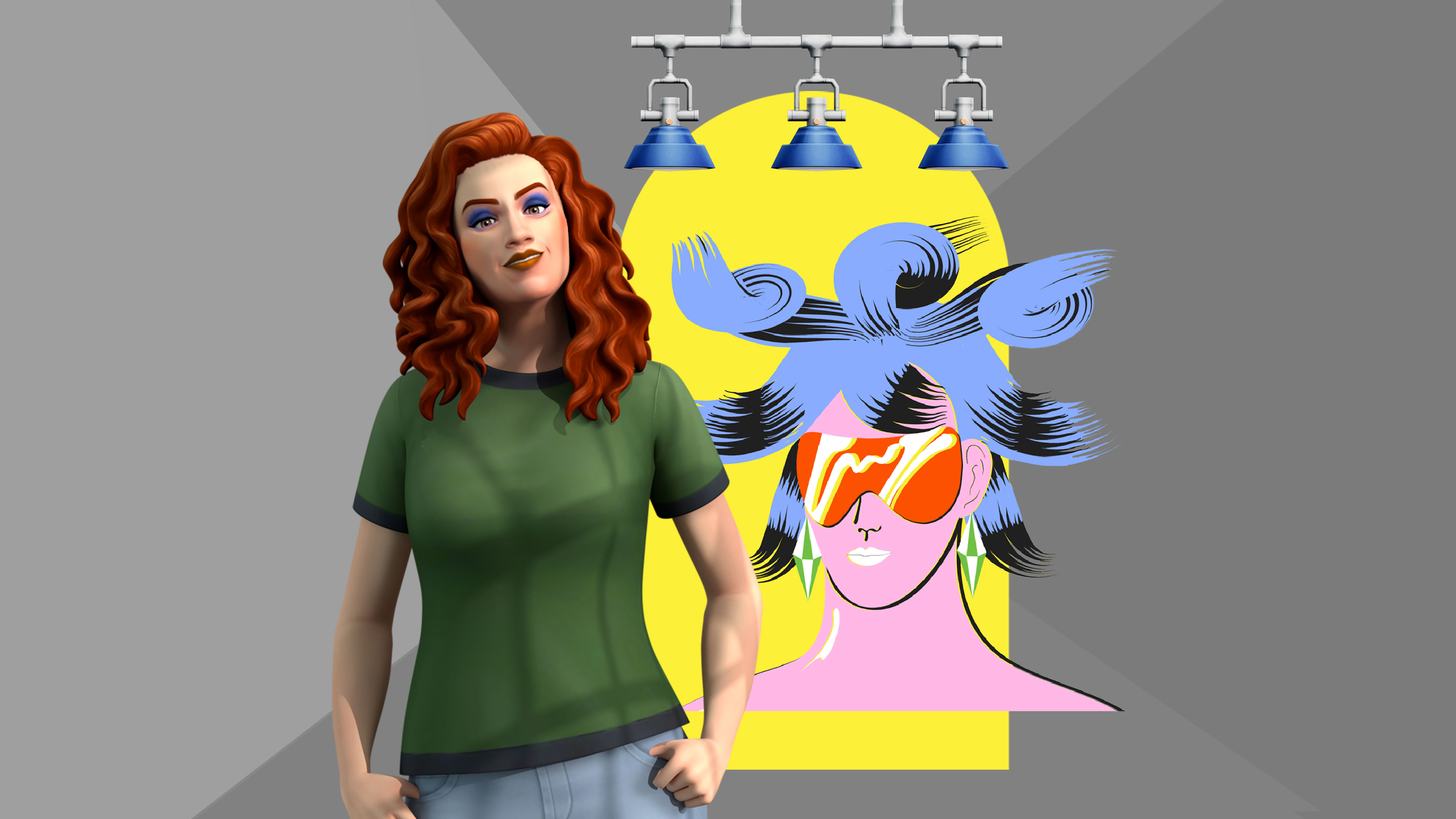 Sims character with her hands in her pockets in front of what looks like a window with a blue bird in front of it.