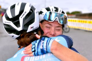 HALDEN NORWAY AUGUST 15 Chloe Hosking of Australia and Team Trek Segafredo celebrates winning stage with her teammate during the 7th Ladies Tour Of Norway 2021 Stage 4 a 1416km stage from Drbak to Halden LTourOfNorway LTON21 UCIWWT on August 15 2021 in Halden Norway Photo by Luc ClaessenGetty Images