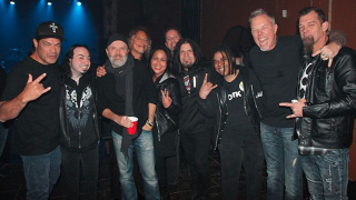 A picture of Metallica and tribute band Sandman backstage in Toronto