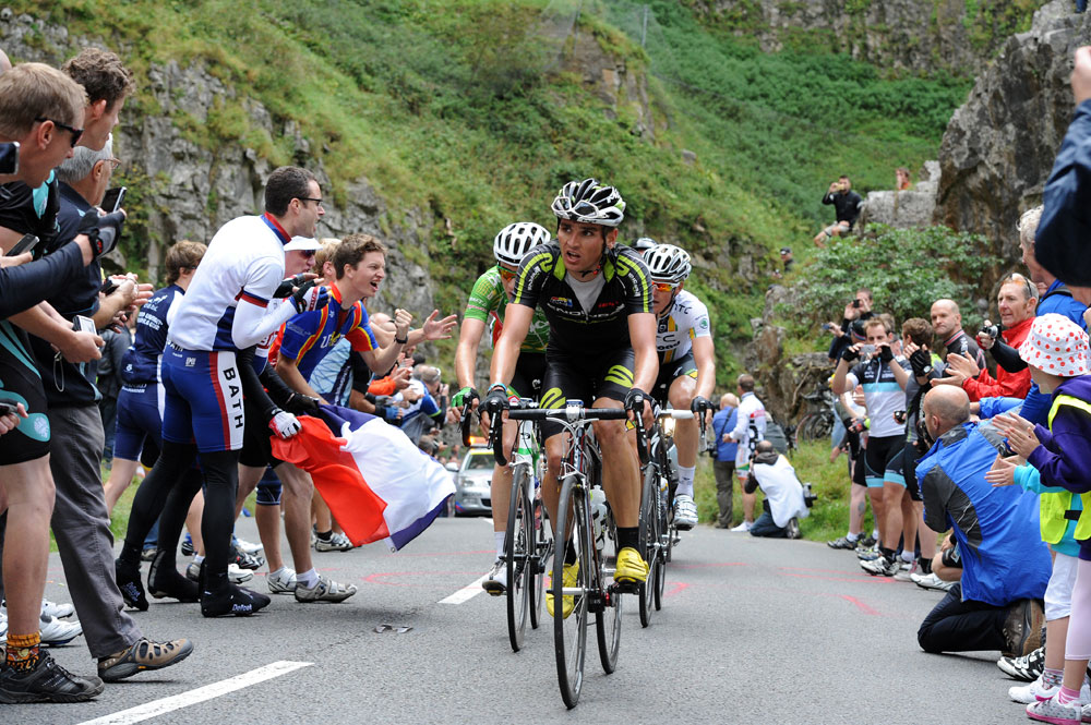 Vos, McNally and Bak in Cheddar, Tour of Britain 2011, stage six