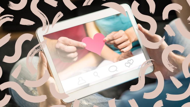 image of an tablet showing a dating site screen with beige swirls around it, to signify w&h's best dating sites for over 50