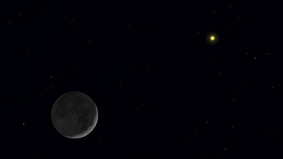 Cosmic Deal: You Can See Saturn with the Moon on Black
