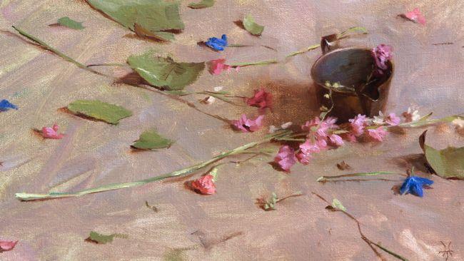 bunga di atas kanvas