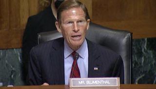 Screengrab of Sen. Richard Blumenthal during tech hearing