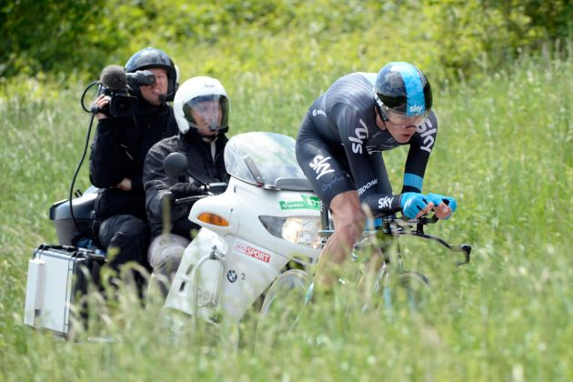 TV camera on Chris Froome
