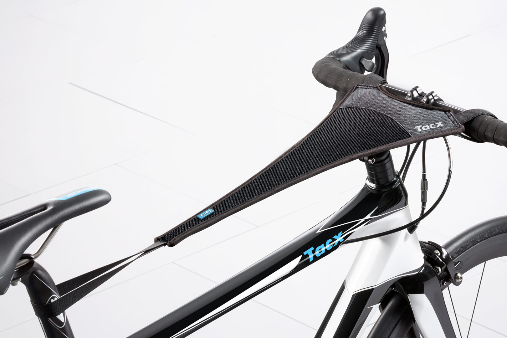 Tacx Sweat Cover Attached to an indoor bike